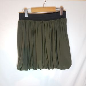 Rickis green skirt gathered and cinched.